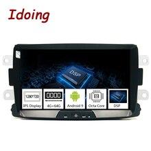 Idoing Radio Multimedia con GPS para coche, Radio con reproductor, Android 9,0, 8 pulgadas, pantalla IPS, DSP, 4 GB + 64 GB, Octa Core, para protector antipolvo para Renault LADA 2009 2016