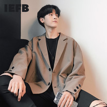 IEFB /men's wear tide koean casual suit coat for male 2021 spring new loose simple long sleeve big size blazers for male 9Y1851