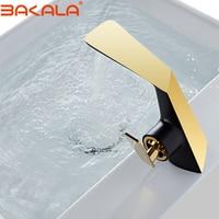 BAKALA Bathroom Faucet Black Gold Single Handle Hot Cold Switch Water Mixer Taps Wash Basin Bathroom Deck Mounted Basin Faucet