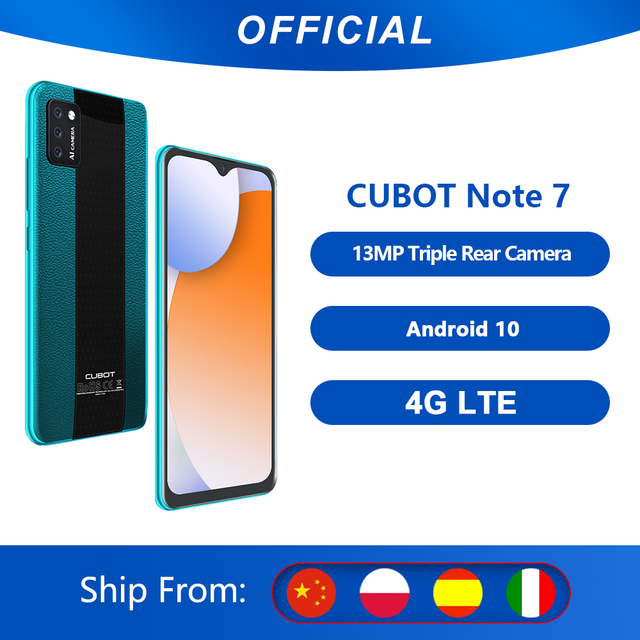 Cubot Note 7 Smartphone Triple Camera 13MP 4G LTE 5.5 Inch Screen 3100mAh Android 10 Dual SIM Card mobile phone Face Unlock 1