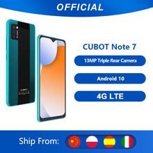 Cubot Note 7 Smartphone Triple Camera13MP 4G LTE 5.5 pouces écran 3100mAh Android 10 double carte SIM téléphone portable visage déverrouillage 2GB+16GB