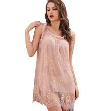 2PC Sexy Lingerie Female Lace Perspective Temptation Sling Nightgown Sleepwear Set Dress + Pantie Spaghetti Strap