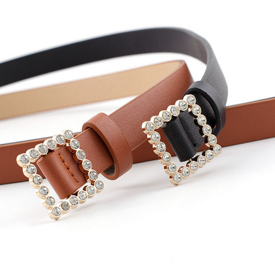 2020 New Women's Casual Square Pearl Buckle PU Fine Belt Fashion Decorative Belt Rhinestone Belt