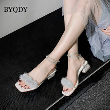 BYQDY Buckle Strap Women Sandals Square Toe Feather Crystal High Heels Shoes Fur Peep Toe Mules High Heels Beach Sandals Thick