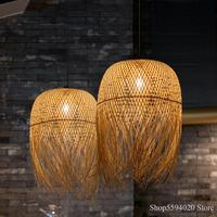 Chinese Bamboo Pendant Lights Led Hang Lamps for Home Luminaire Design Japanese Pendant Loft Hanging Lustre Suspension Fixtures