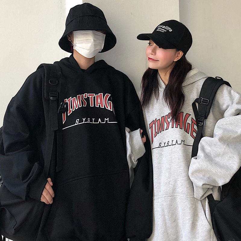 High Street Fashion New Hip Hop Cool Loose Hoodies Casual Black Gray Funny Printed Long Sleeve Streetwear Male Female Couple Top