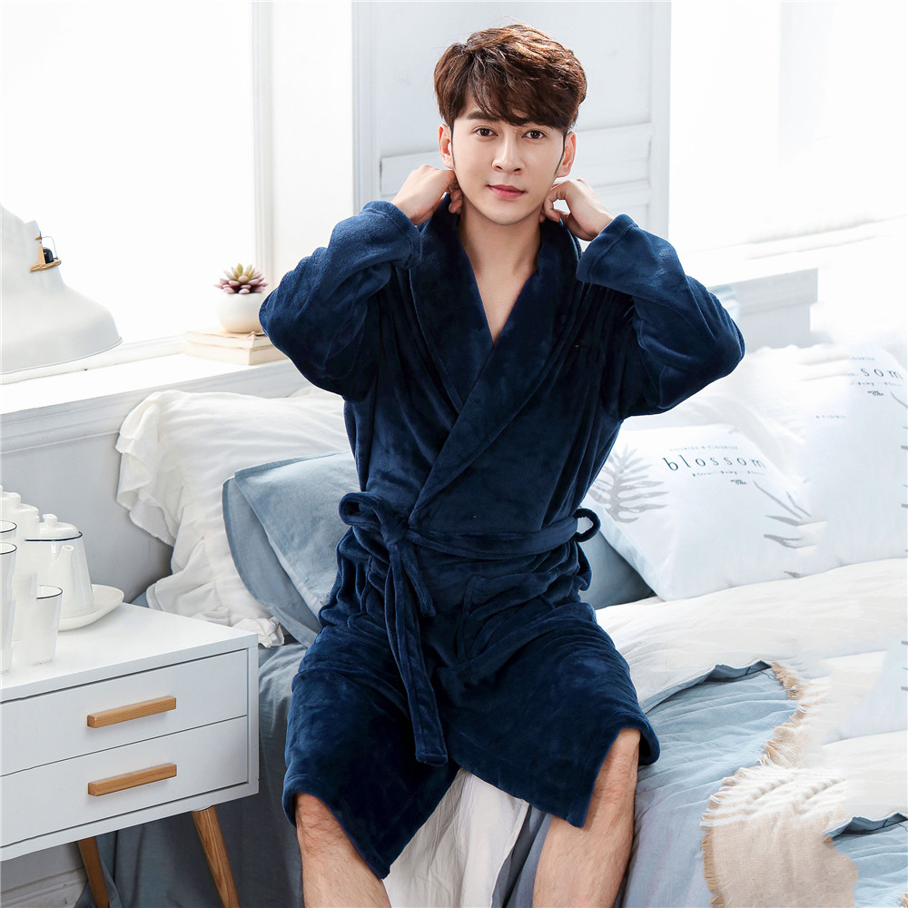 White Winter New Sleepwear Men Robe Sexy Loose Casual Nightgown Bathrobe Warm Thicken V-neck Negligee Kimono Gown Padded Pajamas