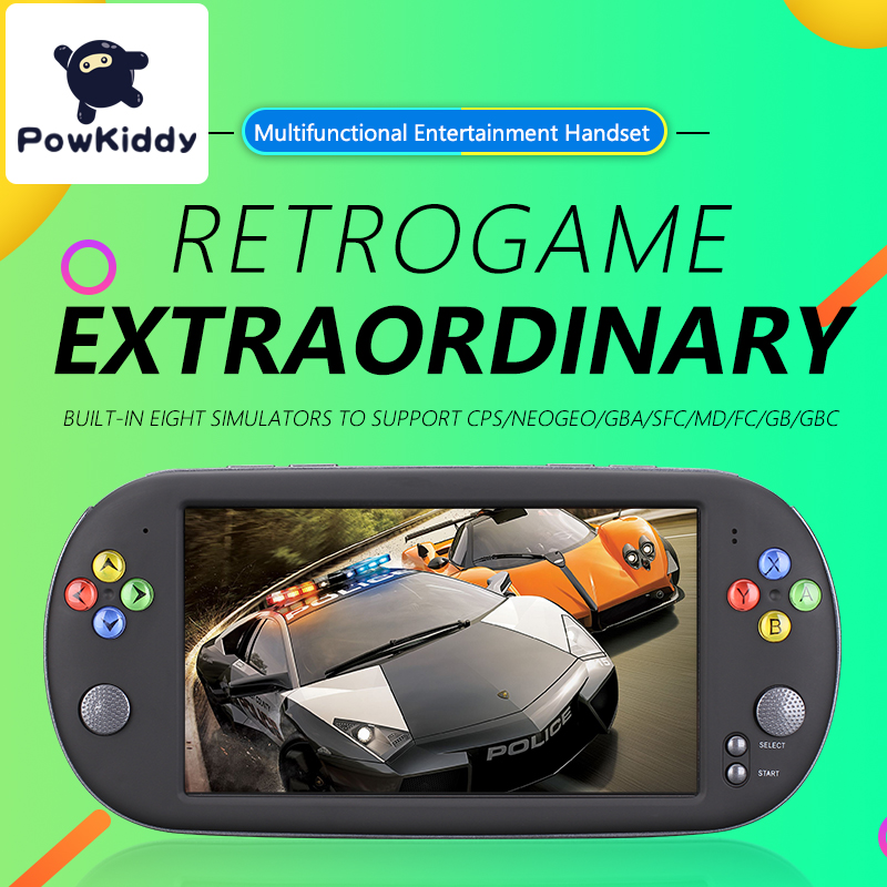 Powkiddy X16 7 Inch Game Console Handheld Portable 8/16GBRetro Classic Video Game Player for Neogeo Arcade Handheld Game Players