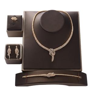 Image 3 - Jewelry Set HADIYANA Trendy Zirconia Luxury Women Wedding Party Bridal Necklace Earrings Ring And Bracelet Set CN1373 Bisuteria