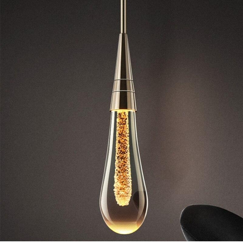Goutte D'eau de luxe En Verre Pendentif Éclairage LED Postmoderne Hôtel Design Chambre À Coucher Salle À Manger Lampes suspendues En Cristal - 5