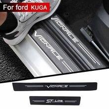 4 pçs limiar do carro proteger adesivo de carro pano fibra carbono para ford kuga vignale stline acessórios do carro