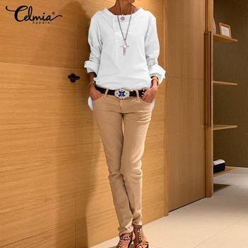 5XL Fashion Shirt 2020 Autumn Long Sleeve Buttons Casual Blouses Celmia Women's Tunic Tops Casual Loose Solid Blusas Femininas 7 2