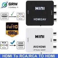 Hd 1080P Hdmi Naar Av Scaler Adapter Video Composiet Converter Hdmi Naar Rca Cvsb L/R Video Mini HD2AV Av Naar Hdmi Converter Adapter