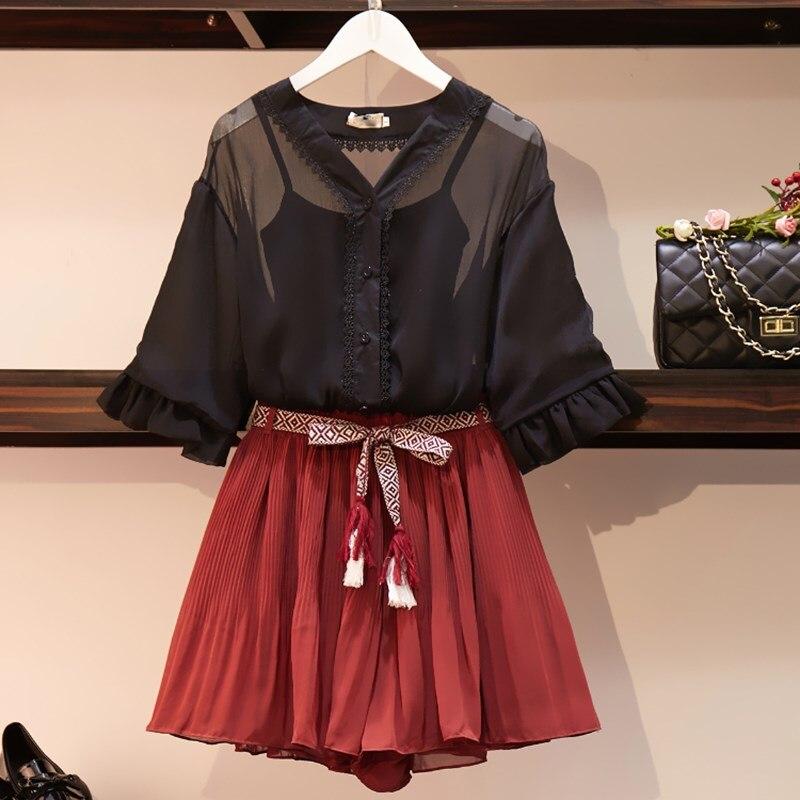 2019 été femmes mode noir gilet et pure hauts et Shorts plissés 3 pièces ensemble doux en mousseline de soie grande taille costumes - 4