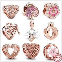 Новый оригинальный 925 стерлингового серебра сверкающий руки Сердце Бусина подвески из розового золота, соответственные Пандоре обаятельны...