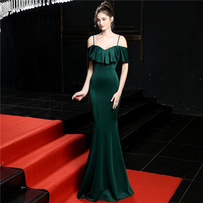 Mermaid Spaghetti Strap Evening Gown It's Yiiya DX255 Sexy Boat Neck Evening Dress Blacklish Green Little Train Robe De Soiree