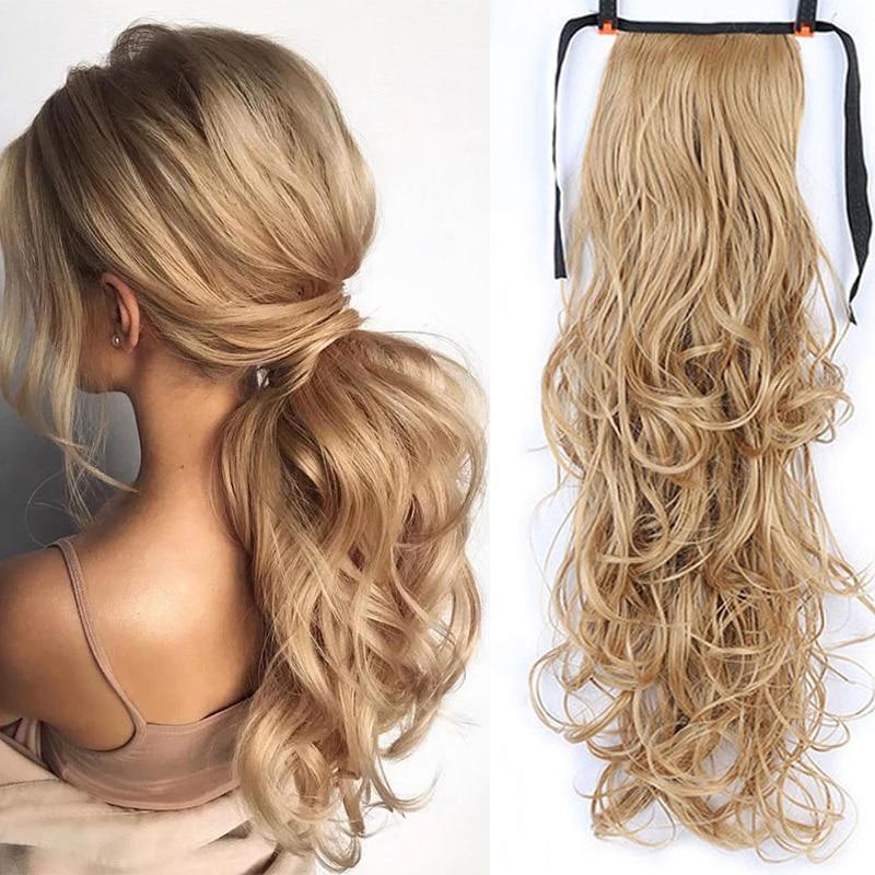 DIANQI из искусственных волос 22 дюймов длинные волнистые Расширенный хвост парик клип термостойкие конский хвост для женщин из натуральных во...