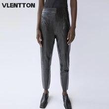 2020 spring autumn woman fashion black faux leather pencil pants