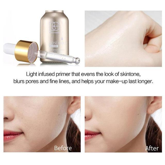 Beauté vernis maquillage visage apprêt 24k Rose or apprêt lèvres fond de teint hydratant huile 15ml