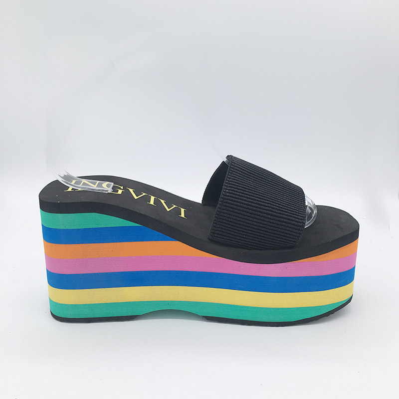 Image 4 - High quality EVA Sole Women Rainbow stripes Slides Platform Wedge Thick Bottom Shoes High Heels sandals slippersSlippers   -