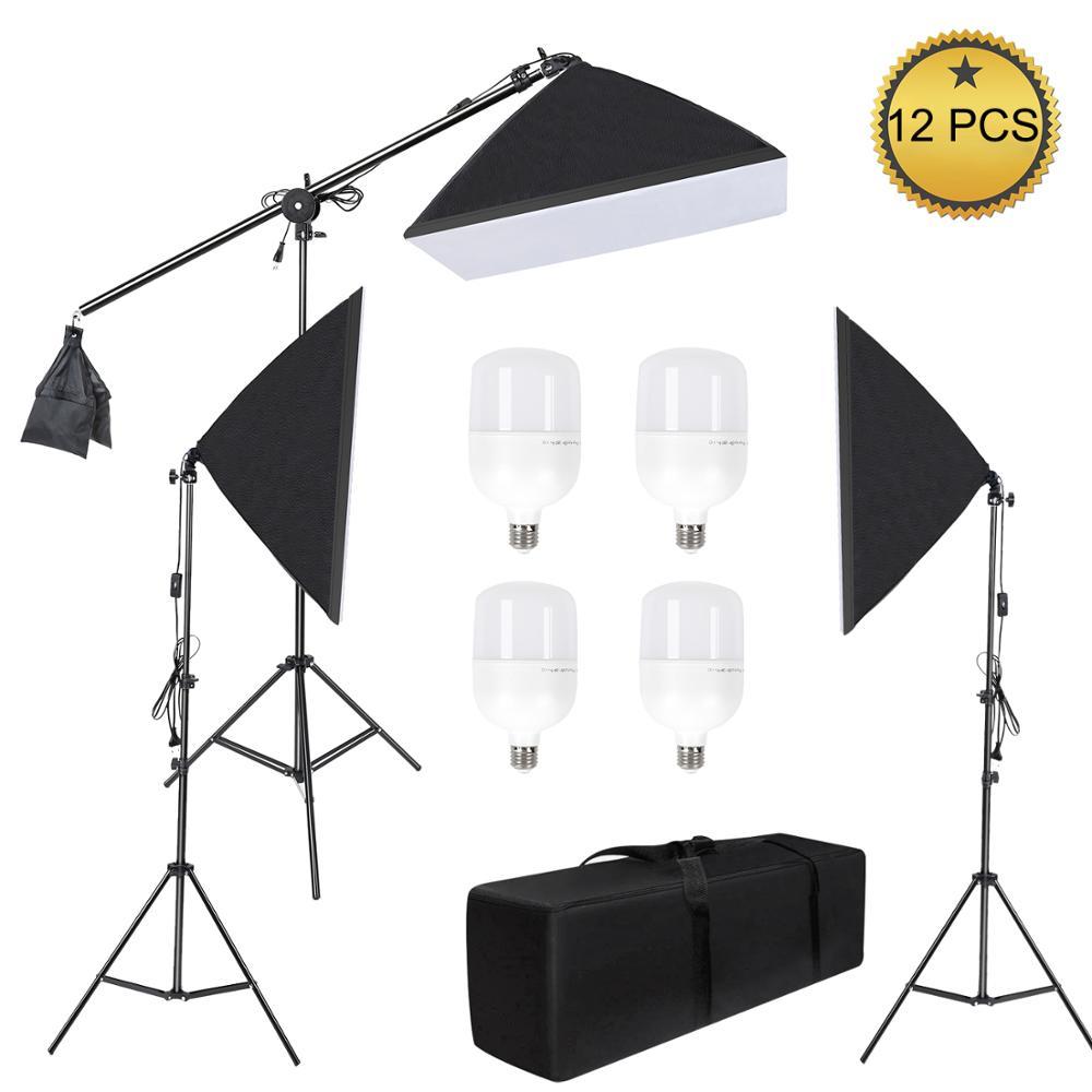 Studio Photo 58W Kit Softbox Kit d'éclairage photographique accessoires Photo appareil Photo 3 support lumineux une Softbox pour photographie appareil Photo