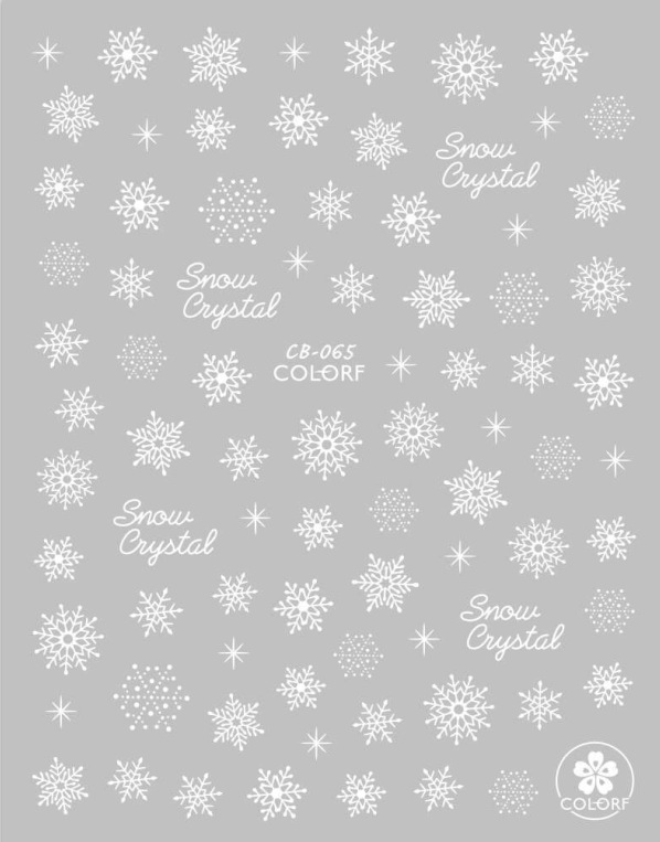 CB065-073 New Style DIY3D Stereo Flower Stickers Winter Christmas Snowflake Nail Sticker White Snowflake Nail Sticker