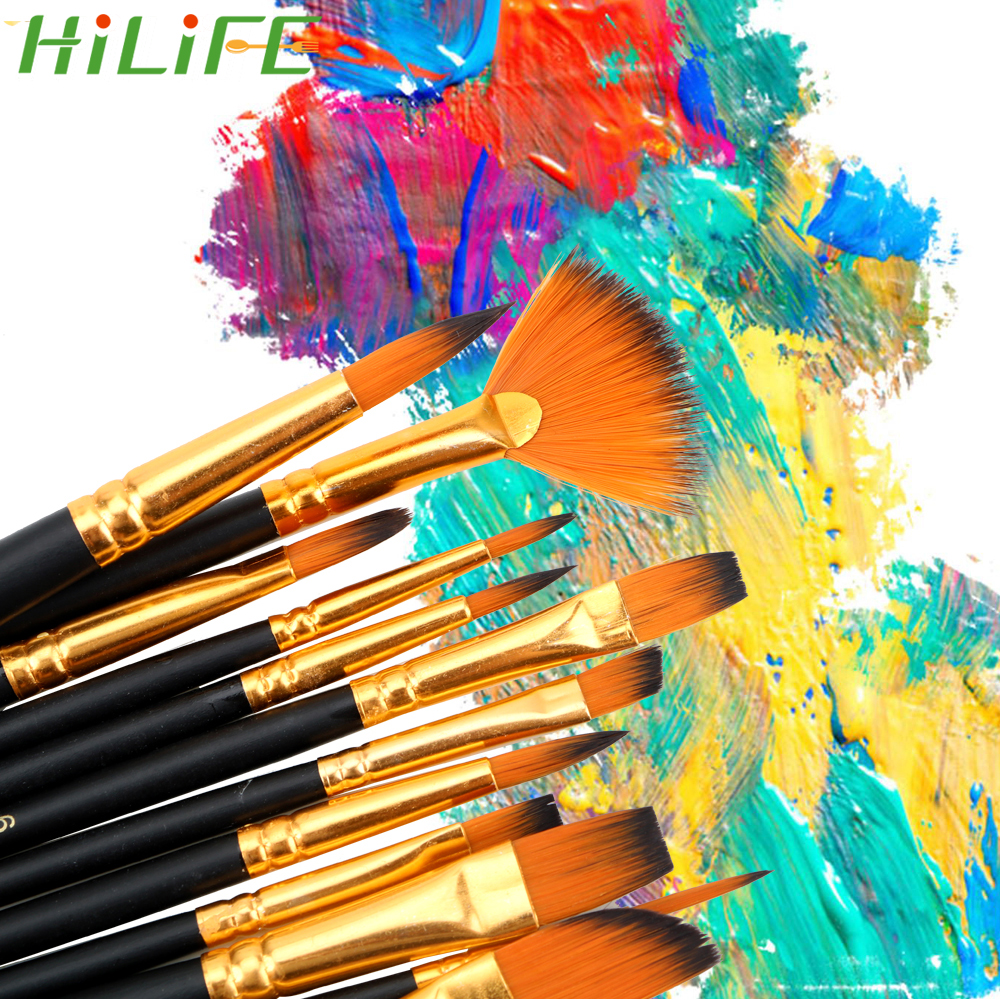 HILIFE 12Pcs/Set Acrylic Brush Watercolor Pen Nylon Oil Paint Brush Wood Handles Professional Art Supplies Hair Painting Brush