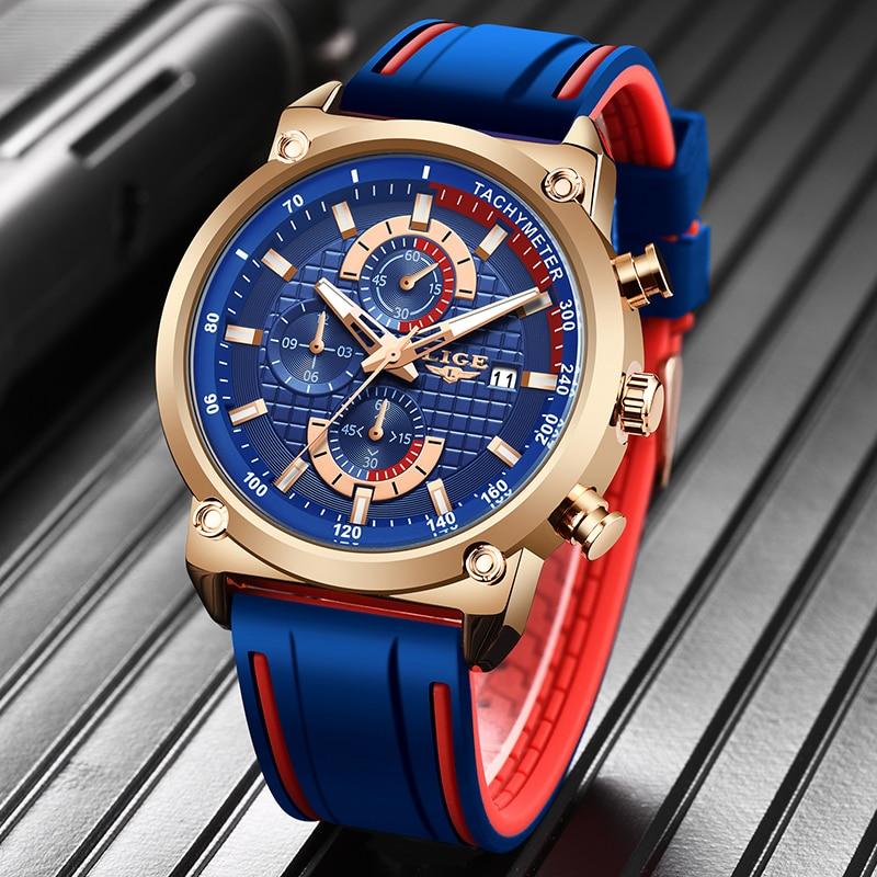 New Top Fashion Chronograph Quartz Men Watches LIGE Silicone Strap Date Wristwatch Clock Male Luminous Watch Innrech Market.com
