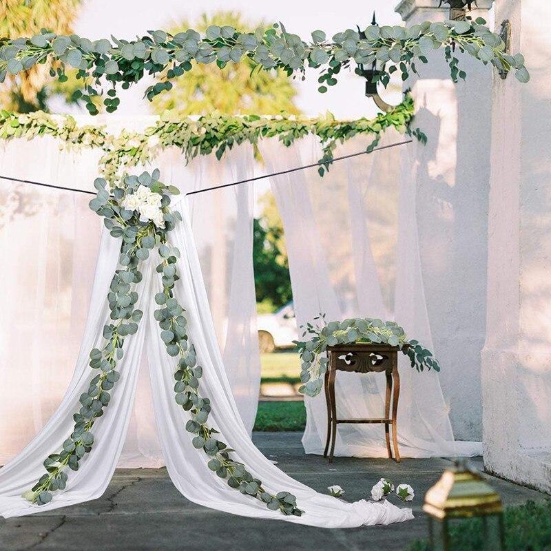 2m hängen eukalyptus blätter rattan pflanzen reben künstliche blume grünen kranz hochzeit wand dekor hause kranz Ivy vertikale garten