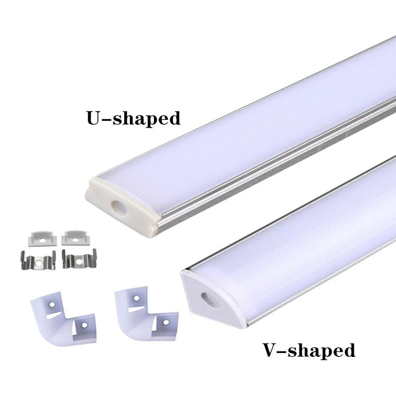 Светодиодный алюминиевый профиль 0,5 m, для 3528 5630 5050 светодиодный полосы U/V форма светодиодный алюминиевый профиль, молочно-белого цвета, крыш...