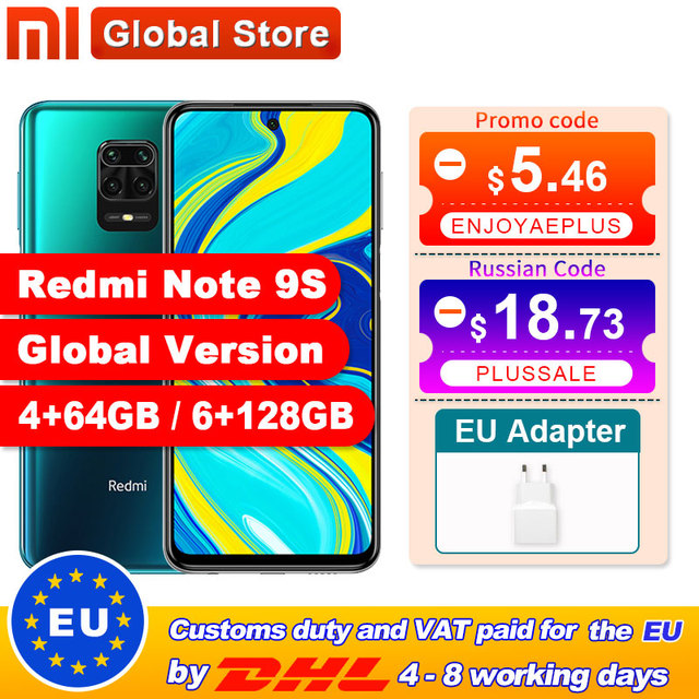 Spain Overseas Global Version Xiaomi Redmi Note 9S 4GB 64GB /6GB 128GB smartphone Snapdragon 720G Octa core  48MP Quad Camera