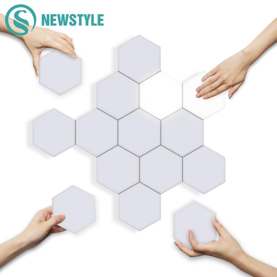 DIY Quantum Lights LED Hexagonal Lamps Wall Lamp Creative Geometry Light Smart Dimmable Touch Sensitive Modular Lighting