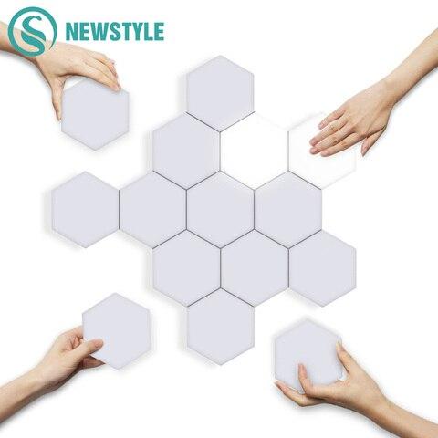 diy quantum luzes led hexagonal lampadas lampada de parede criativo geometria luz inteligente regulavel sensivel