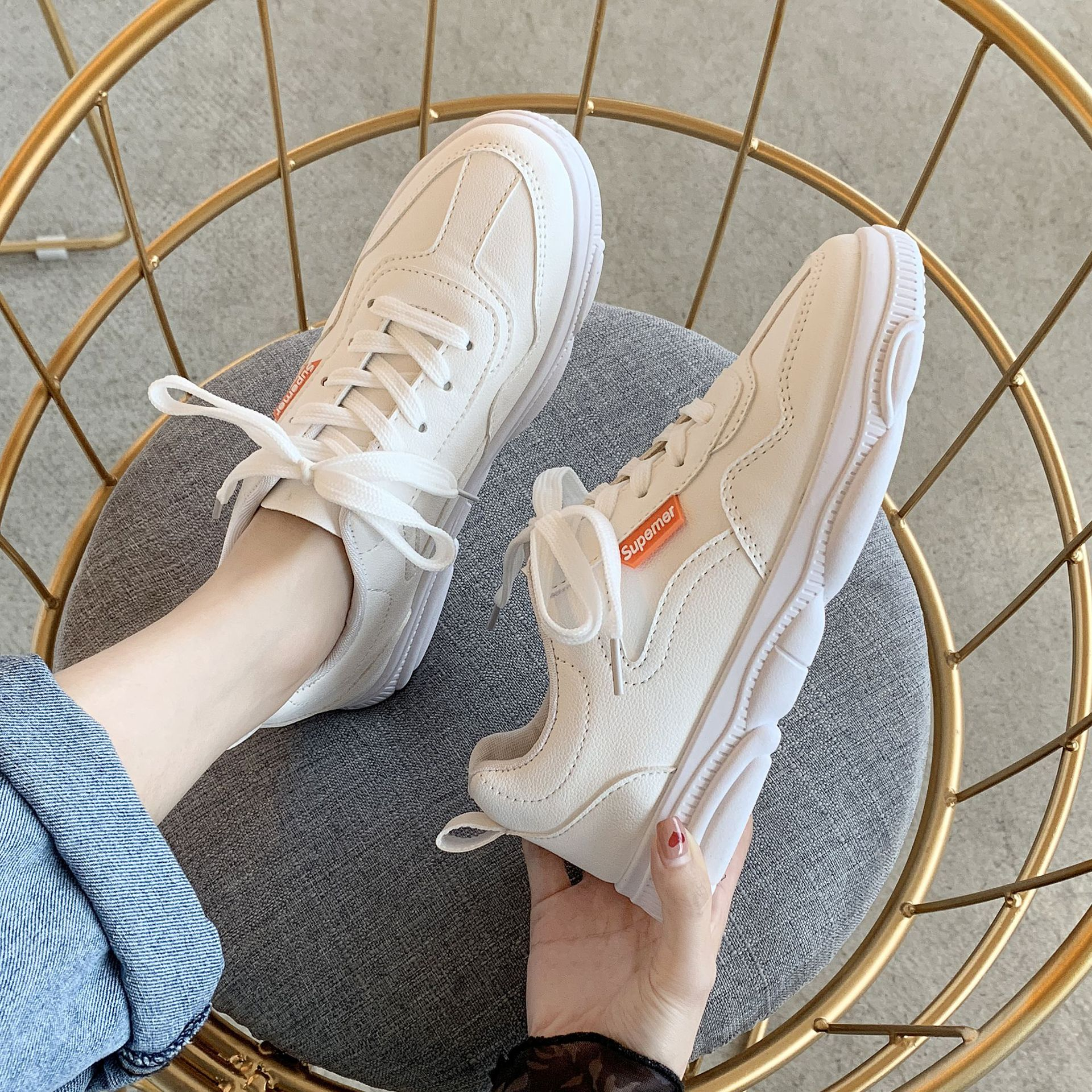 women shoes bear Daddy Shoes womens tide new wild students breathable sneakers white
