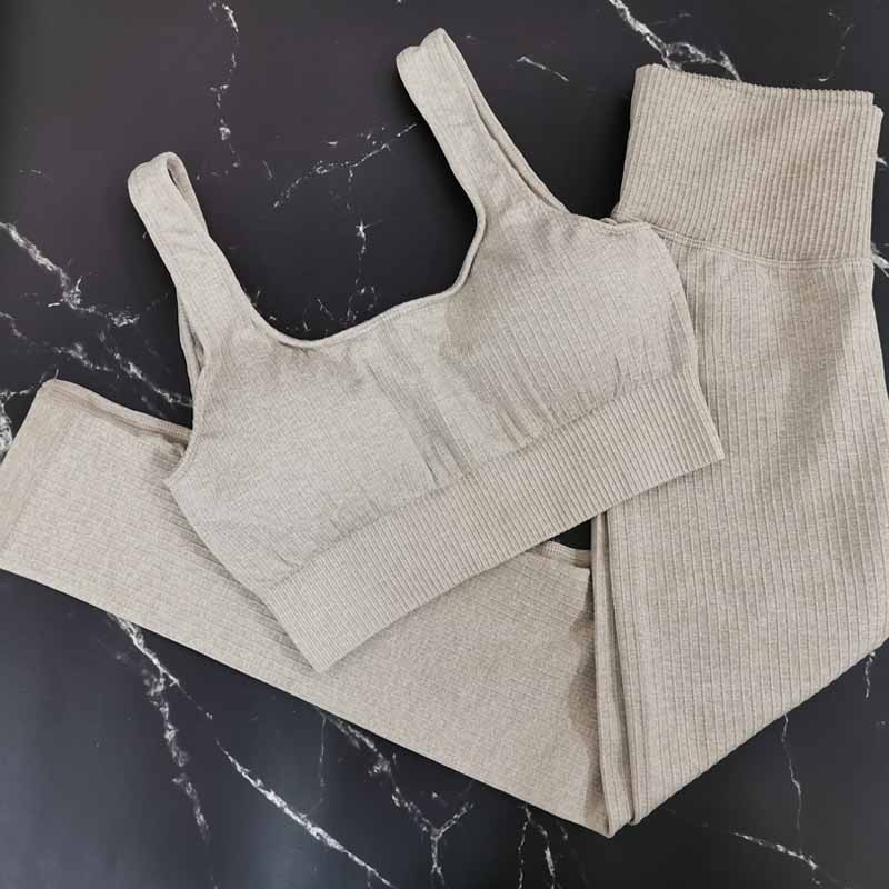 Khaki Sports Set 2 Piece Set Women Yoga Sets High Waist Sports Leggings Sports Bra Gym Clothing Workout Set Sport Suit Women