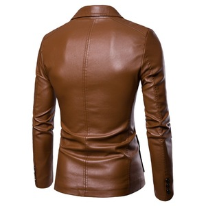 Image 2 - Shenrun Men Leather Jacket PU Leather Blazer Black Wine Red Yellow Brown Autumn Winter Suit Jackets Fashion Youth Casual Blazers