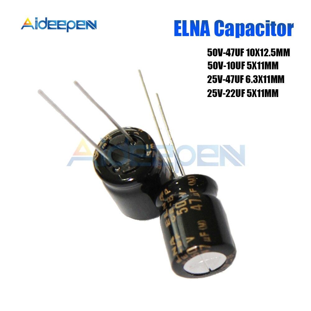 10PCS Original ELNA Audio Capacitor RBD 25V 50V 10UF 22UF 47UF Capacitance Aluminum Non-polar Electrolytic Capacitor