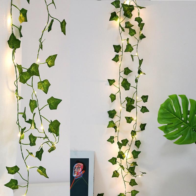 2M Artificial Plants Led String Light Creeper Green Leaf Ivy Vine For Home Wedding Decor Lamp DIY Hanging Garden Yard Lighting