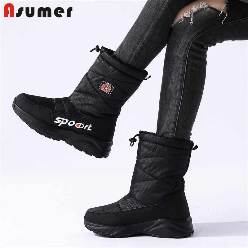 ASUMER büyük boyutu 36-41 kalın kürk kar botları kadın takozlar ayakkabı orta buzağı platform çizmeler bayanlar kış uzay çizmeler kadın ayakkabısı
