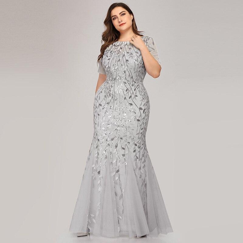 Plus Size Elegant Evening Dresses Mermaid Sequined Lace Appliques Long Dress Party Gowns Formal Dress Women 8XL Evening Gowns 6
