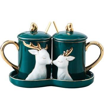 Creatieve Koffie Mok Voor Paar Met Lepel Ontbijt Cover Keramiek Koffie Mok Nordic Reizen Kubek Doen Kawy Aardbei Melk XX60CM