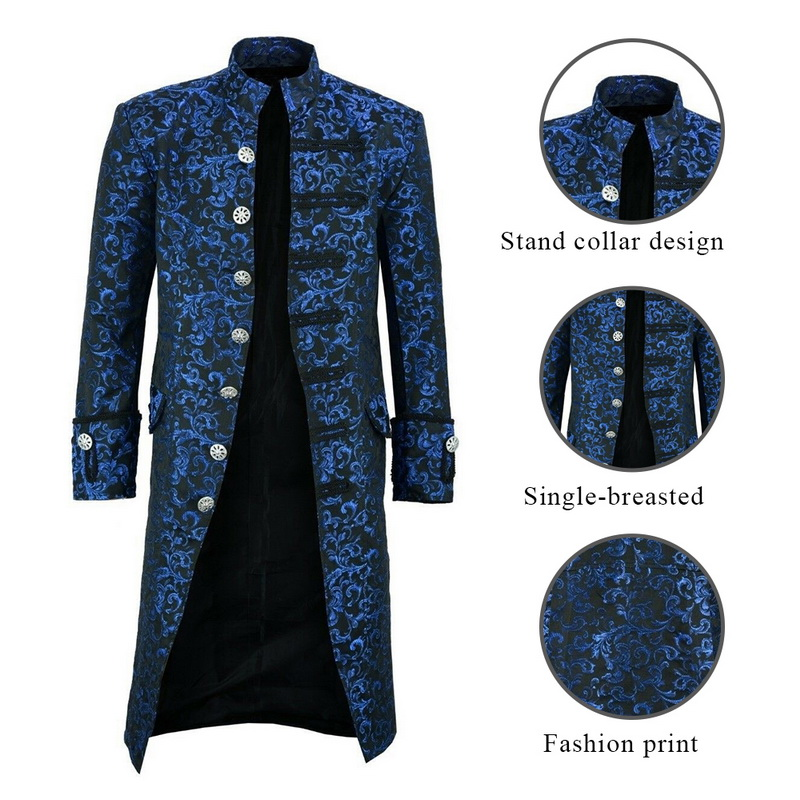 H435d3cf200854364920ce09215cfd109O HEFLASHOR Men Edwardian Steampunk Trench Coat Frock Outwear Vintage  Overcoat Medieval Jacket Cosplay Costume