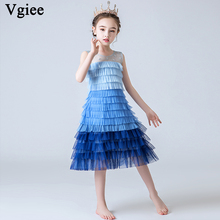 Vgiee Girls Dresses for Party and Wedding Kids Draped Sleeveless Cotton Beautiful Children CC671
