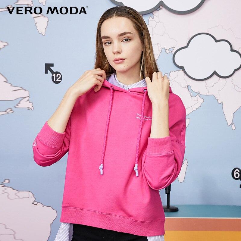 Vero Moda Women Letter Print Contrasting Pullover Hoodies| 319333522