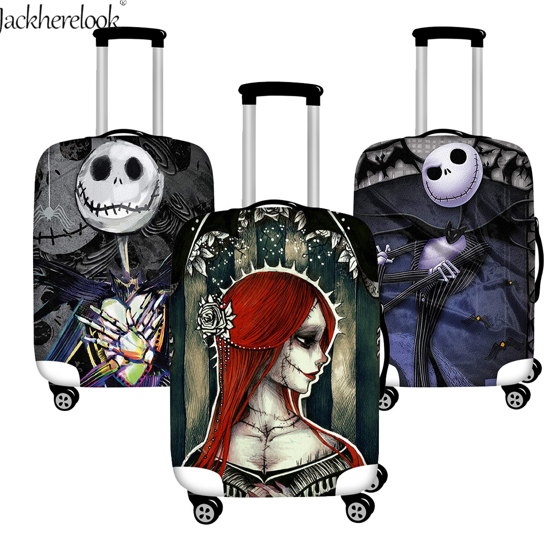 Jack Skellington Sally Print Suitcase Cover Cool Nightmare Before Christmas Dust Water Proof  Baggage Bag Cover Travel Bag Case