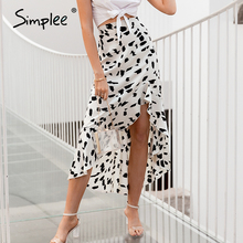 Simplee taille haute léopard imprimé foulard de tête pour femme jupe volants printemps été femme midi jupe décontracté vacances dames jupes bas