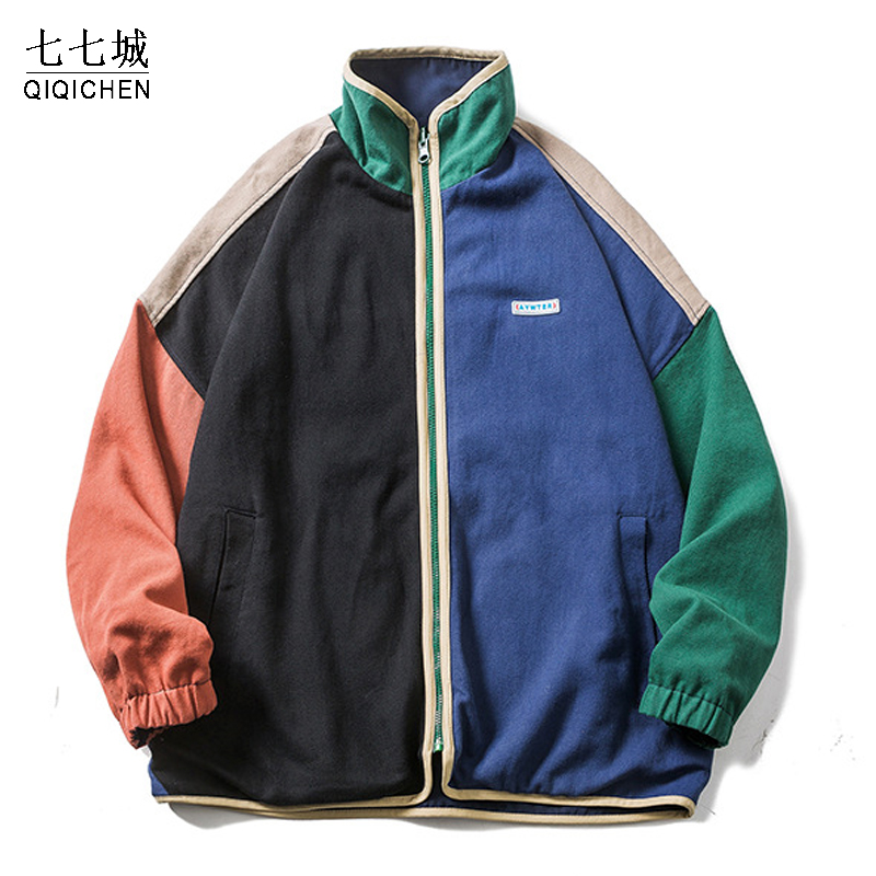 В стиле «хип-хоп» с двойным Двусторонняя куртка для мужчин Цвет блок уличные пальто для мальчиков с воротником-стойкой и Демисезонный повсе...