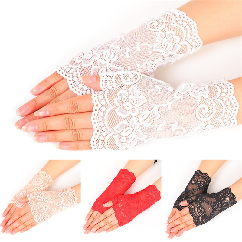 Lady's Fingerless Black Floral Lace Gloves Summer Thin UV-Proof Driving Gloves Gothic Sexy Short Hollow White Red Party Gloves