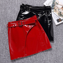 2019 New Autumn and Winter Red Glossy Sheepskin Leather Skirt  J7