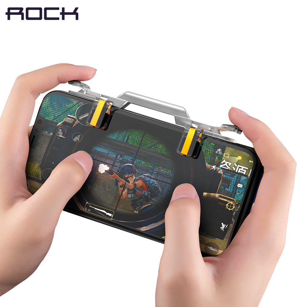 ROCK Mobile Phone Gaming Trigger for PUBG Joystick Fire Button Aim L1 R1 Key L1R1 Shooter Controller for cell phone Game Android